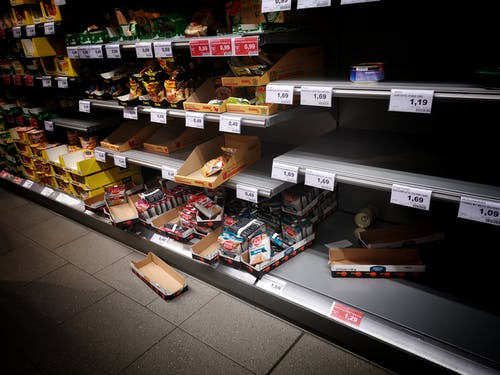 Shelves with assorted snacks in market