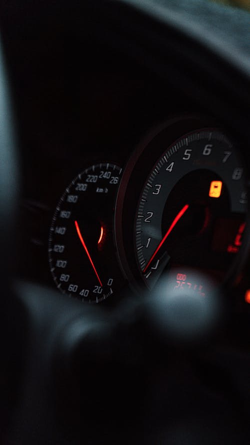 Dashboard with illuminated details in modern vehicle