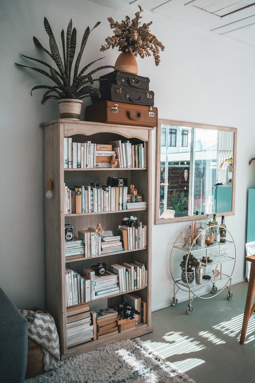 Brown Wooden Shelf With Books