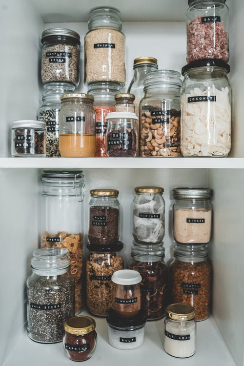 Clear Glass Jars With Brown and White Beans
