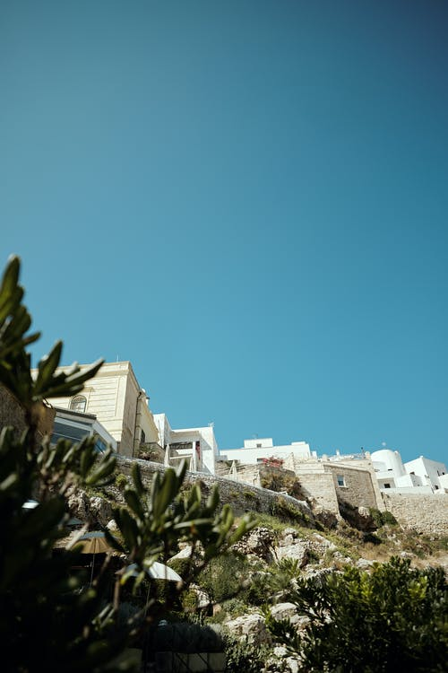 From below of white stone buildings located on hill covered with green plants against cloudless sky