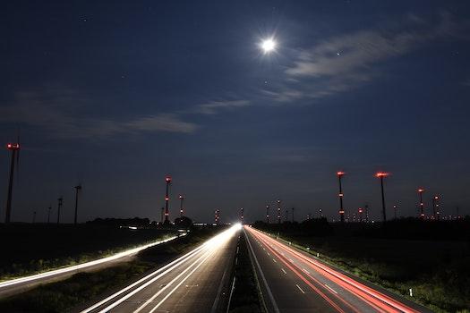 Free stock photo of cars, traffic, night, freeway