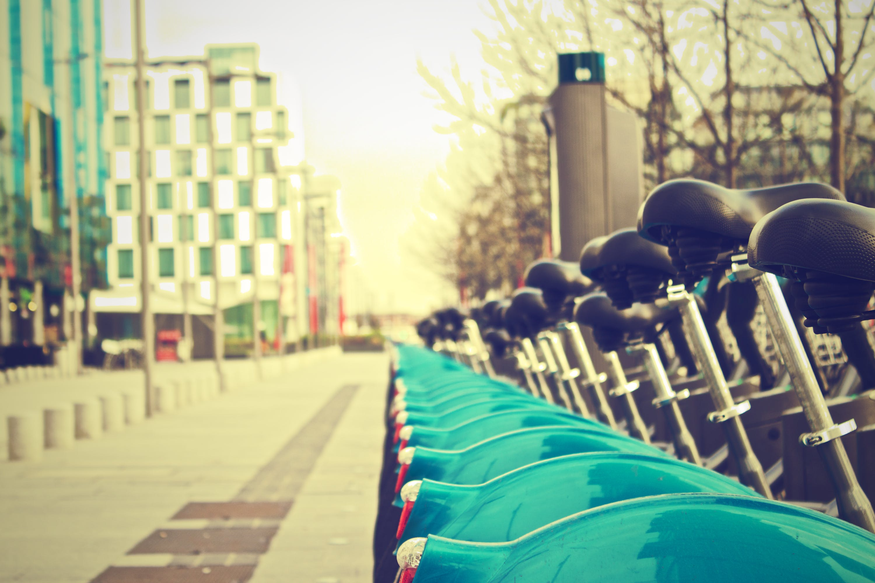 Bicycles Parked Near Street