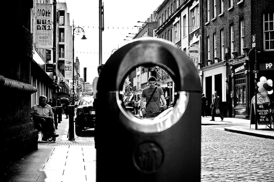 black-and-white, city, man