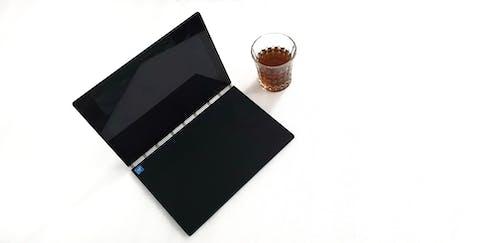 Free stock photo of glass, laptop, notebook pc, tea