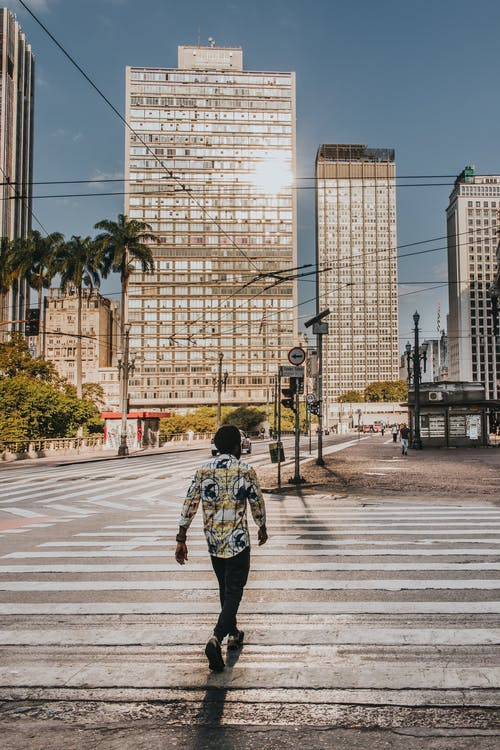 Back view of African American man walking on crossroad in modern city district