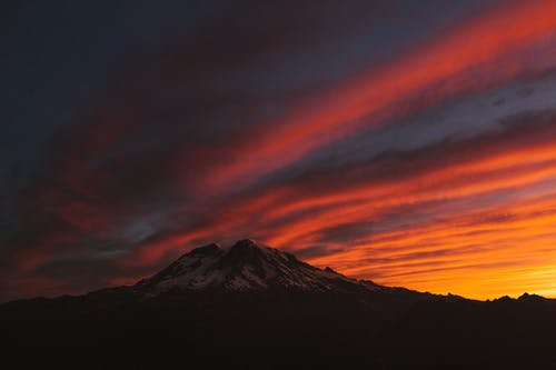 Photo of Mountain Under Red Sky