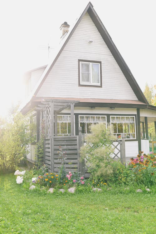 Exterior of cozy rural wooden cottage