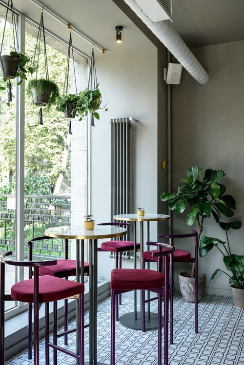 Interior of modern cafe with big window