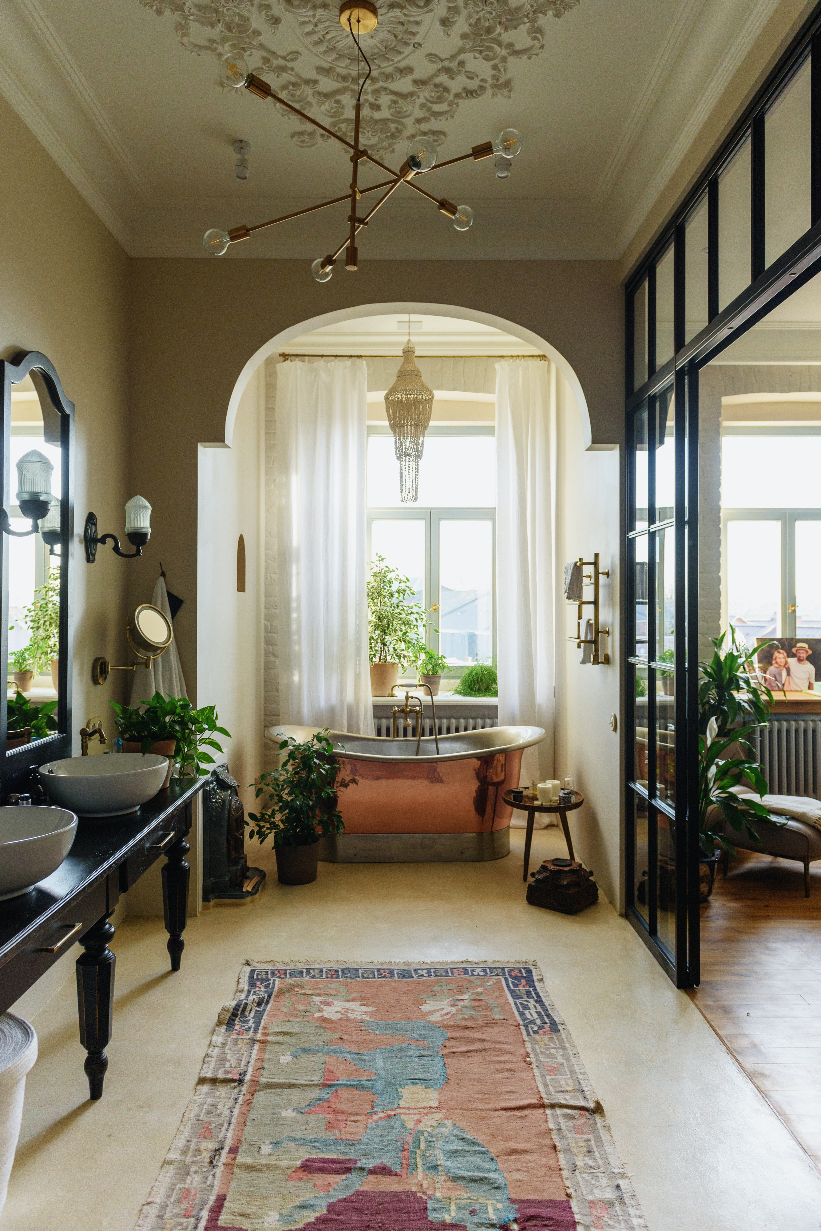 Interior Design Of Cozy Spacious Bathroom Free Stock Photo