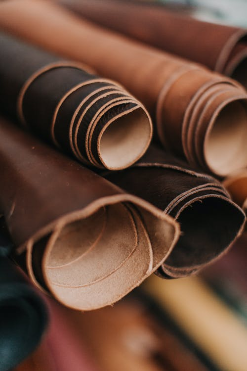 Brown and White Rolled Paper