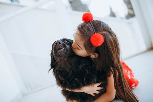 Adorable child kissing and hugging dog