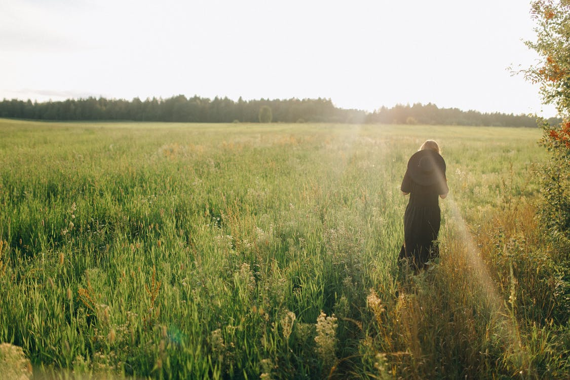 Person in Black Hoodie Standing on Green Grass Field