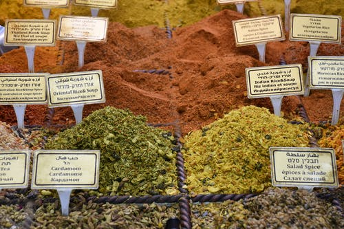 Assorted dry spices with inscriptions in local bazaar