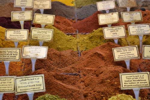 Collection of dry seasonings for sale in market