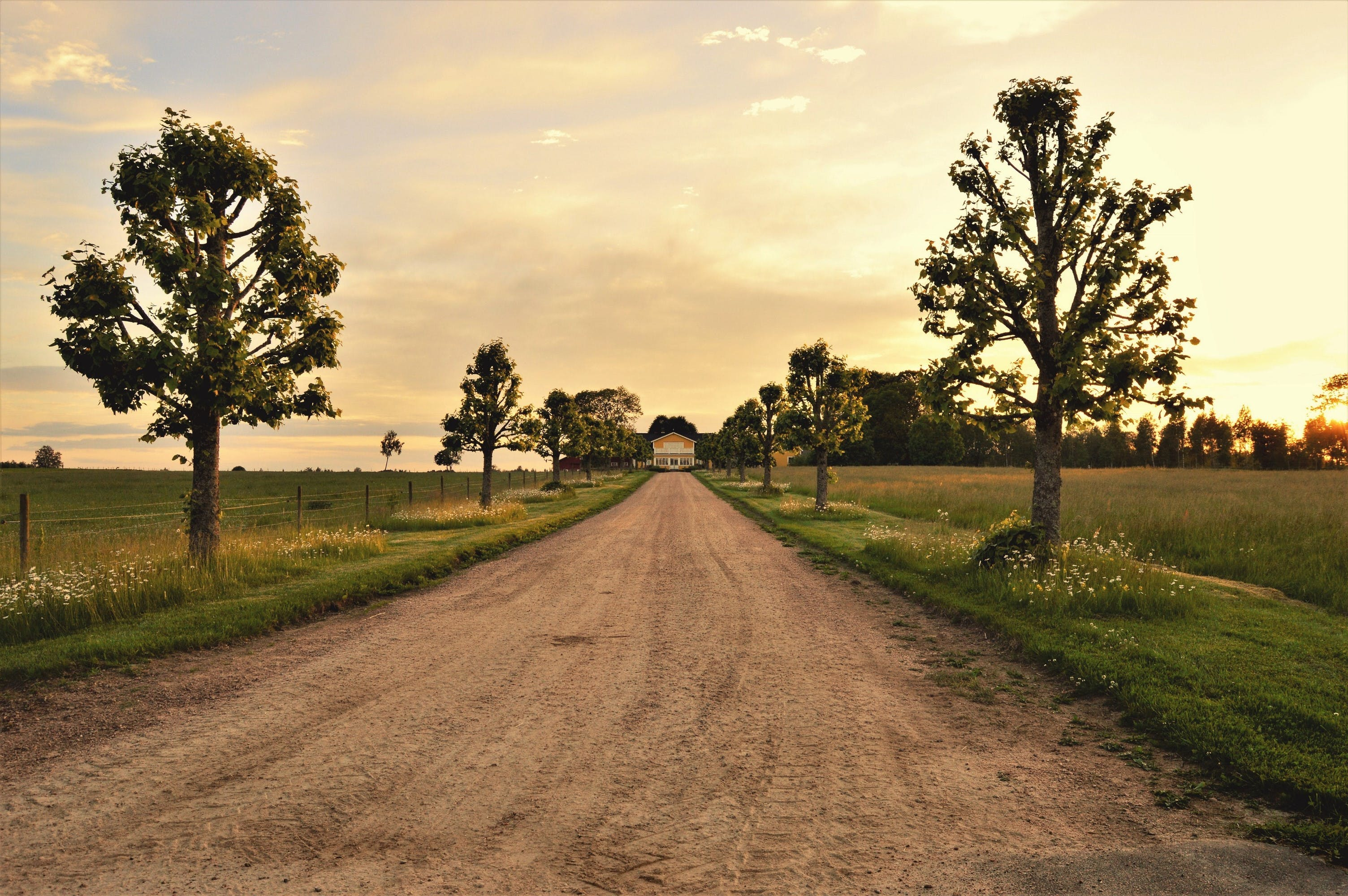 Free stock photo of cloudy, dirt road, house, nature