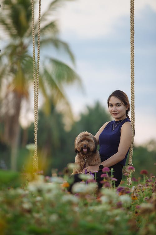 Ethnic woman carrying small fluffy dog in park