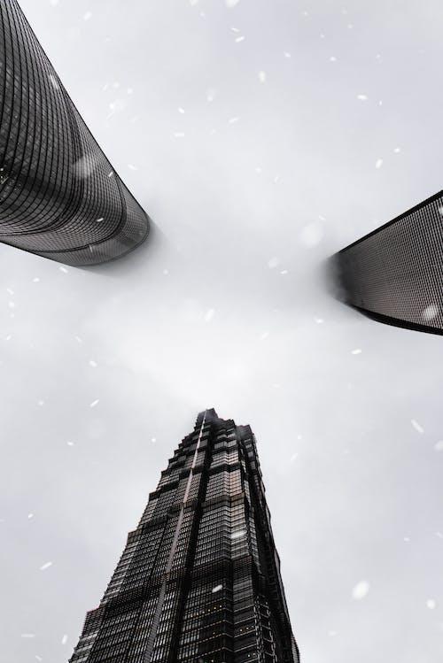 Modern skyscrapers in city under sky in fog