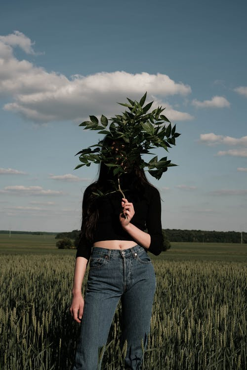Unrecognizable woman with plant leaf in field