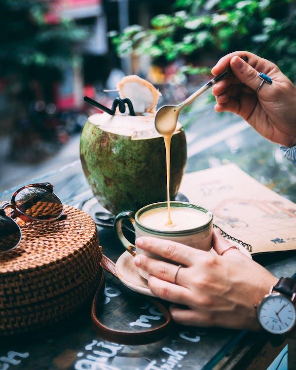 Foto stok gratis ala Vietnam, buah tropis, busa kopi