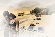 beach, couple, in love