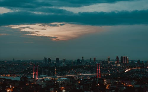 City skyline with lighted skyscrapers and glowing bridge over river against cloudy sky at dusk