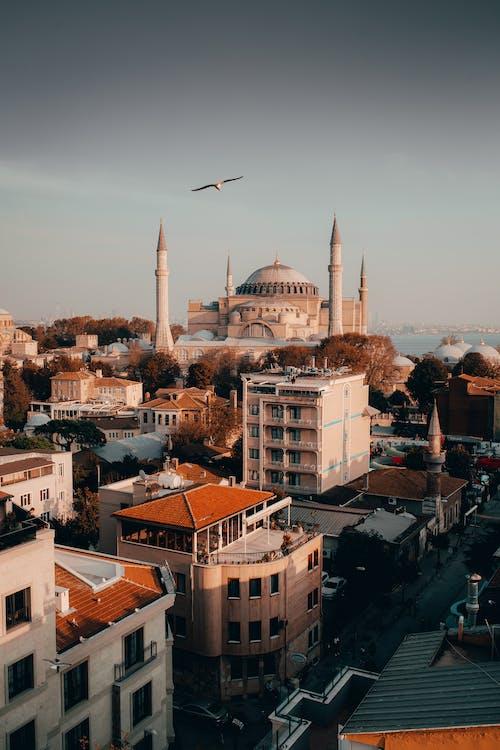 Bunte Stadt Mit Gebäuden Und Alter Moschee