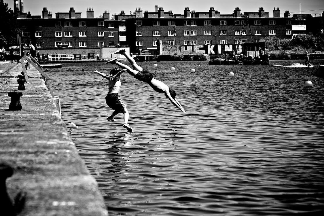 černobílý, potápění, skok