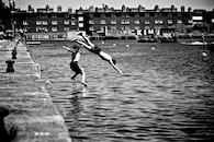 black-and-white, lake, dive