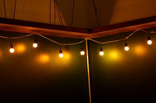 Turned on Light Bulb on Ceiling