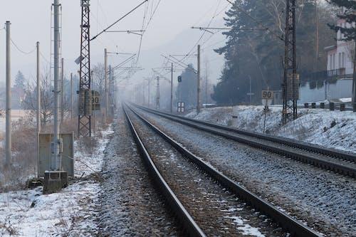 겨울, 눈, 서리, 철도의 무료 스톡 사진