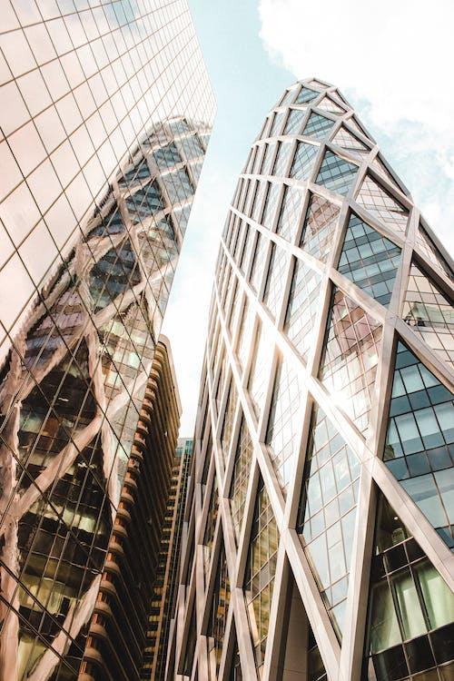 Modern skyscraper with glass mirrored walls