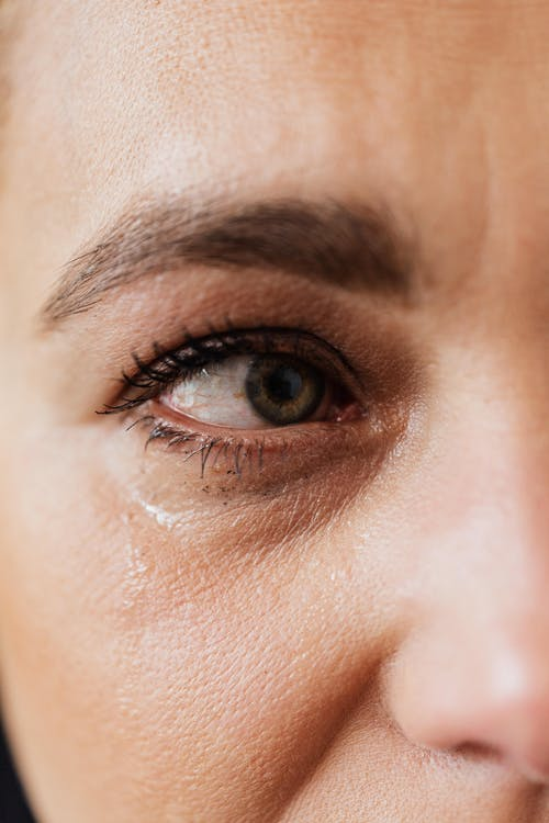 Tearful eye of upset middle aged woman