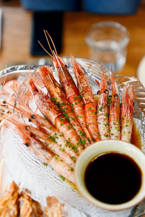 Cooked Prawns on Clear Glass Bowl