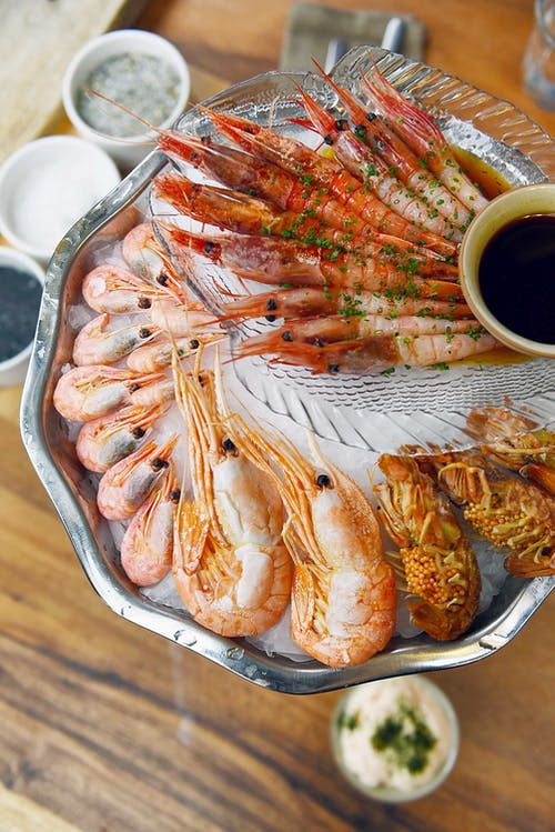 Cooked Prawns on Stainless Steel Tray