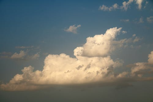 Spectacular scenery of fluffy clouds floating in blue sky and illuminated by sunlight