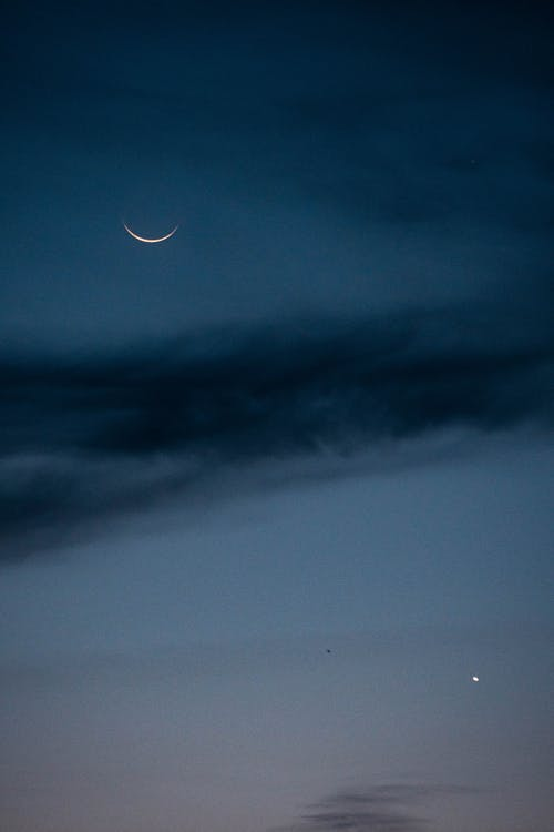 Black Clouds and Moon during Night Time