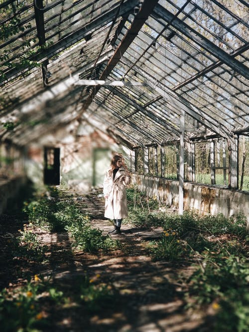 Woman Standing Inside a Greenhouse