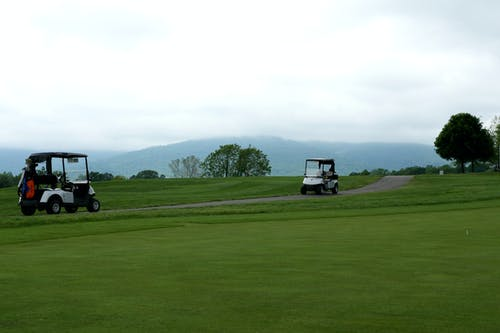 Black and White Golf Cart on Green Grass Field Under White Sky