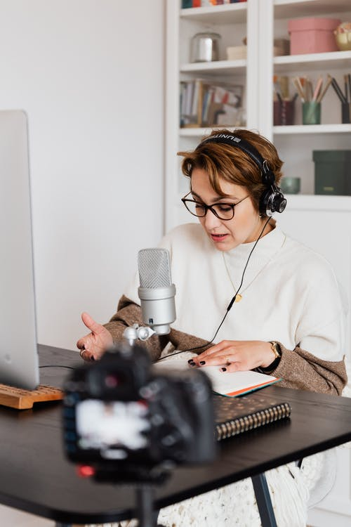 Professional book narrator reading story and recording video