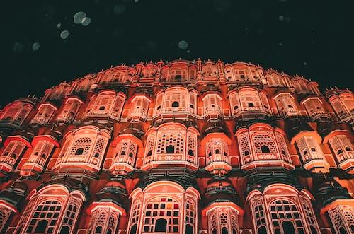 Facade of Hawa Mahal at night