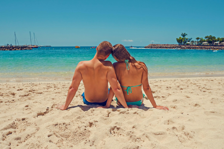 beach, bikini, boats