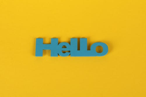 Free stock photo of blue wooden text, Hello, yellow background