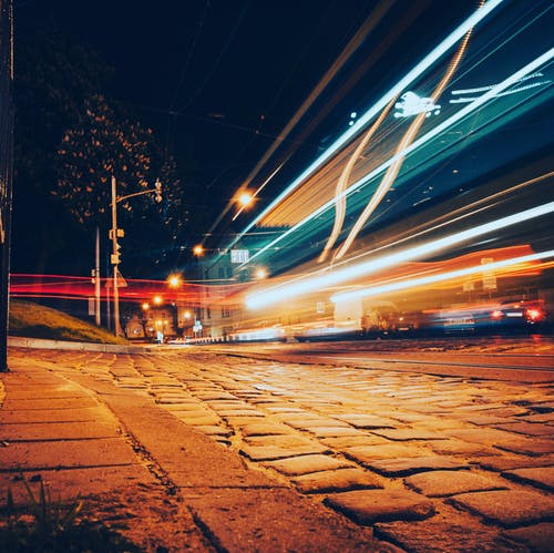 Street lights at night in city