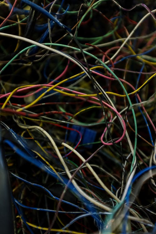 Blue Red and Yellow Electric Wires