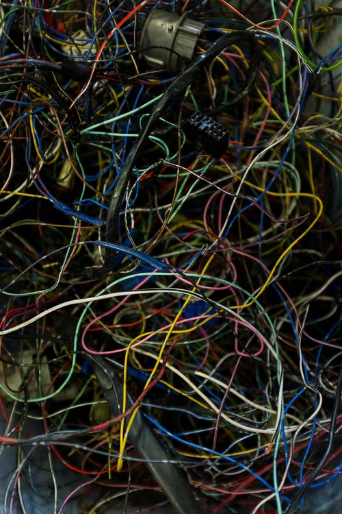 Blue Yellow and Red Coated Wires