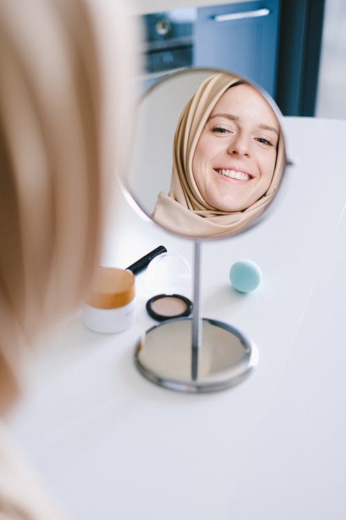 Woman in Brown Hijab Smiling