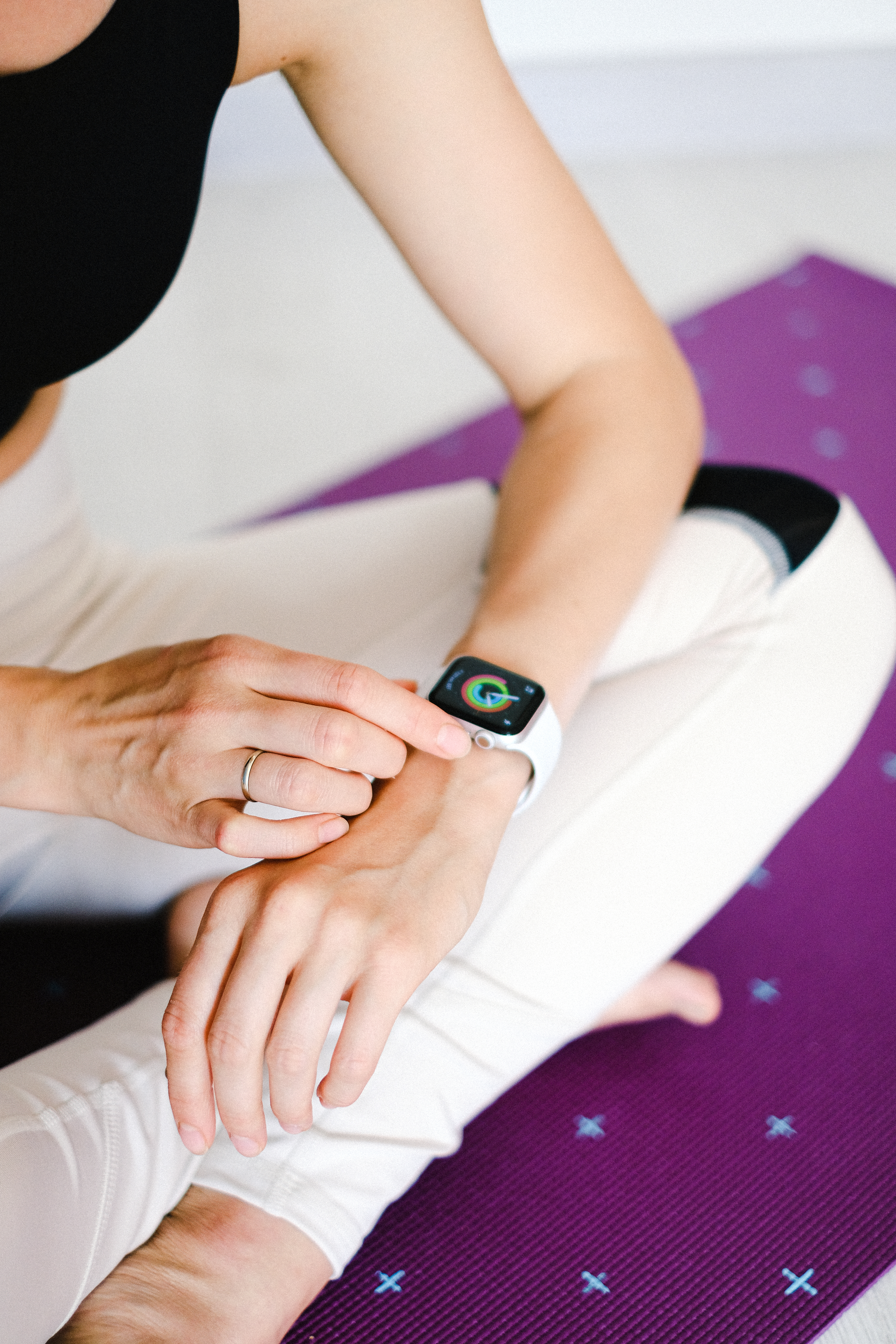 person wearing apple watch