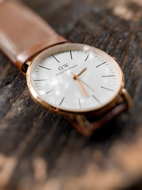 Close-Up Photo of Brown Leather Strap Analog Watch