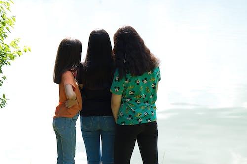 Free stock photo of back view, lake, long hair, nature
